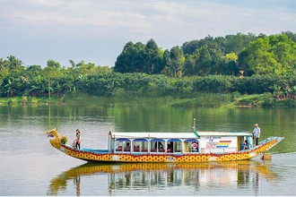 Dragon boat on perfume river Hue city tour 1 day