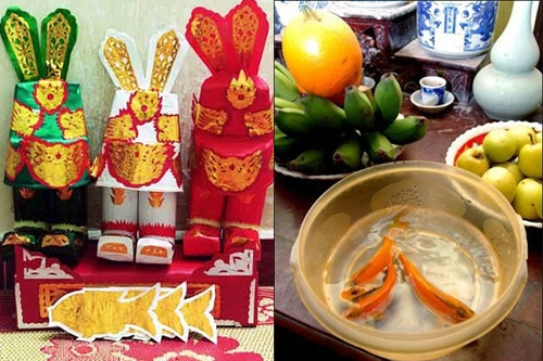 worshiping the kitchen god in Vietnamese New Year